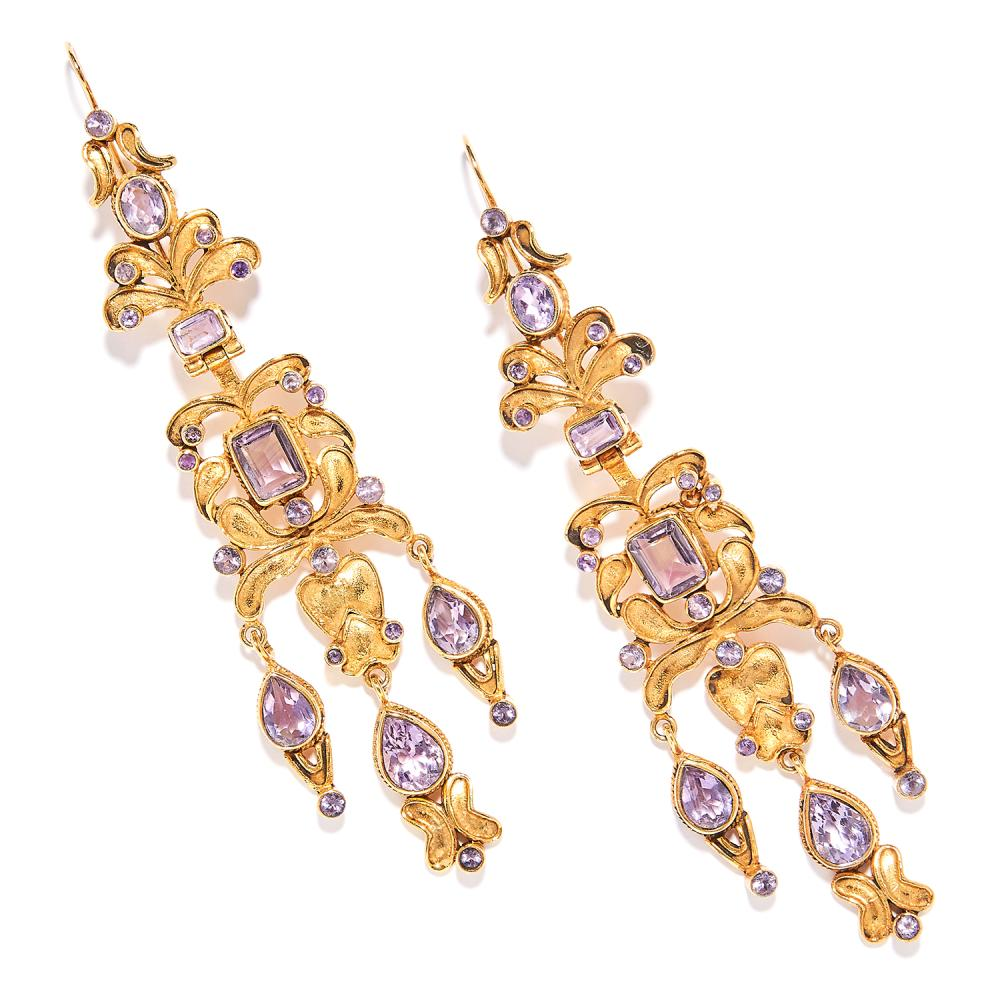 ANTIQUE AMETHYST EARRINGS, SPANISH 19TH CENTURY in high carat yellow gold, articulated foliate bodies jewelled with amethysts, unmarked, 11.8cm, 40.9g.