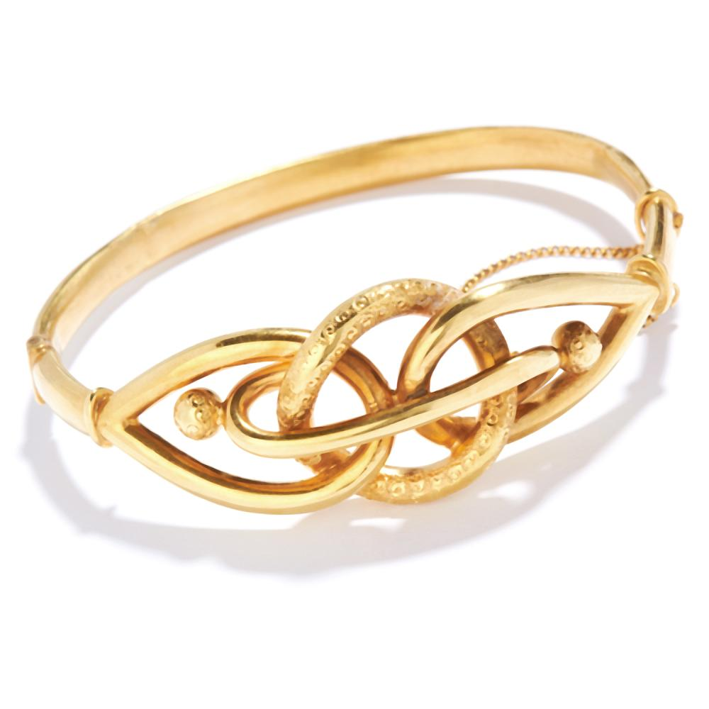 ANTIQUE GOLD KNOT BANGLE in high carat yellow gold, in twisted Celtic knot design, unmarked, 6cm inner diameter, 13.14g.
