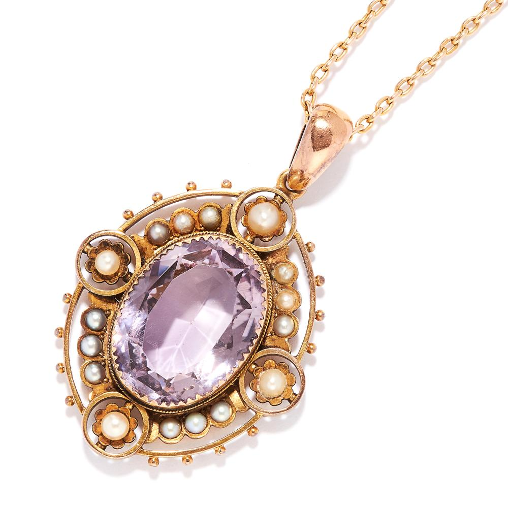 ANTIQUE AMETHYST AND PEARL PENDANT AND CHAIN in 15ct yellow gold, oval cut amethyst within a border of pearls, chain stamped 15, 4.7cm, 14.5g.