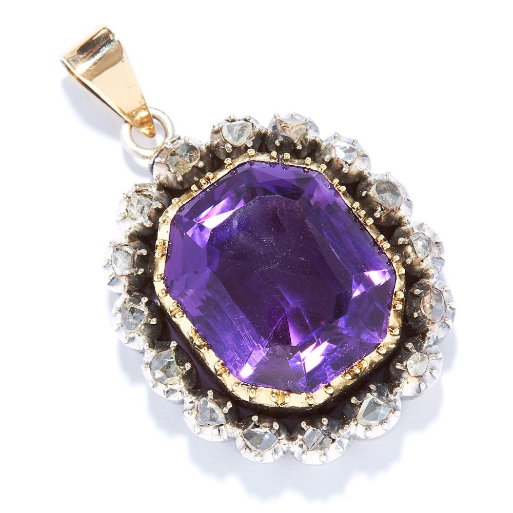 ANTIQUE AMETHYST AND DIAMOND PENDANT in gold, set with an emerald cut amethyst and rose cut diamonds, unmarked, 4cm, 18.70g.