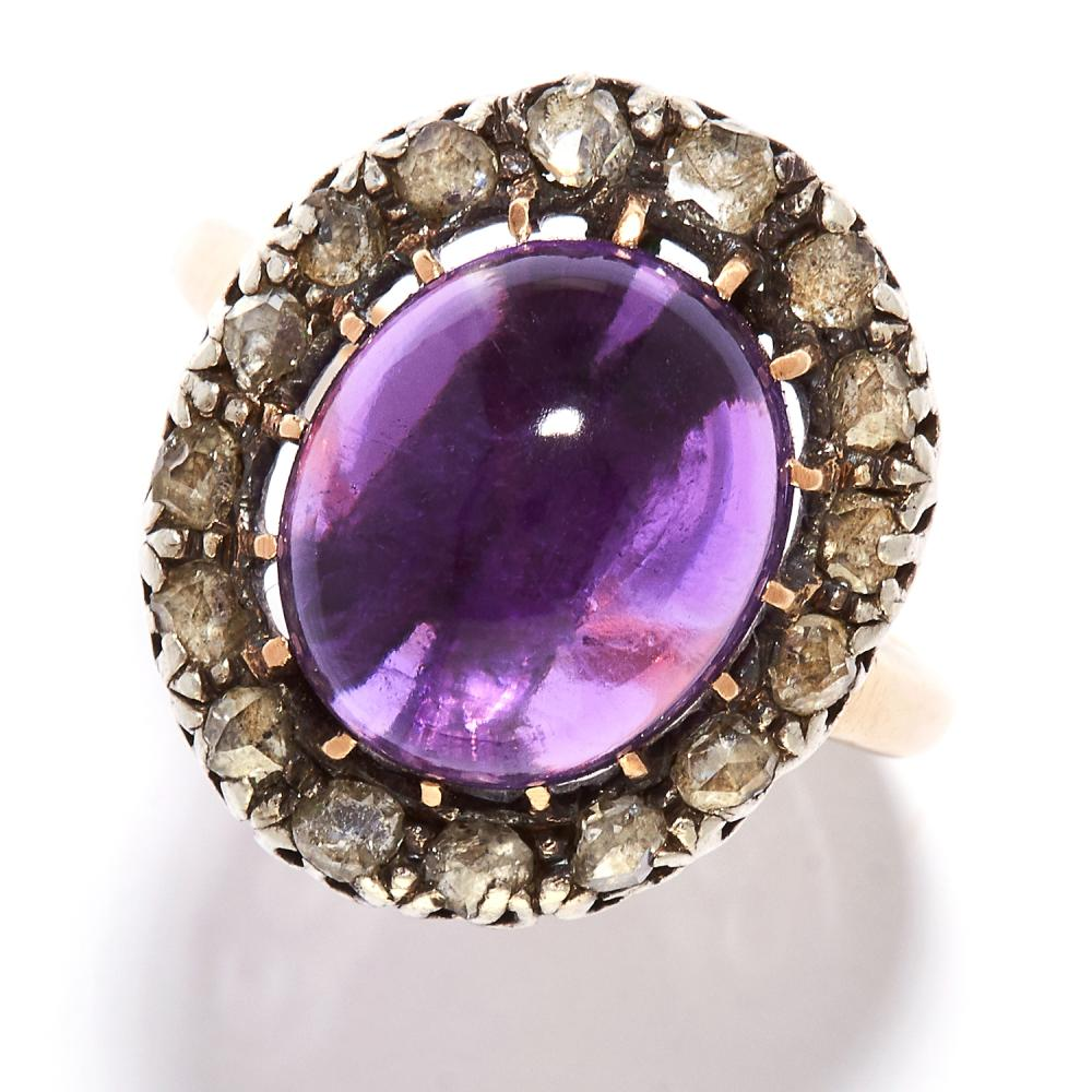 ANTIQUE AMETHYST AND DIAMOND RING in high carat yellow gold and silver, the oval cabochon amethyst encircled by rose cut diamonds, unmarked, size Q / 8, 6.2g.
