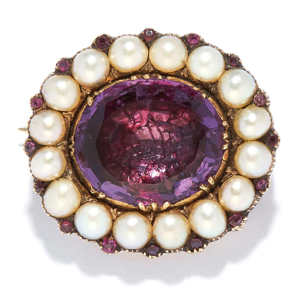ANTIQUE AMETHYST AND PEARL BROOCH in high carat yellow gold, set with an oval cut amethyst in a border of pearls, unmarked, 2.5cm, 9.67g.