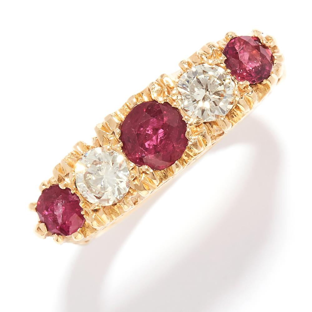RUBY AND DIAMOND FIVE STONE RING in 18ct yellow gold, set with three round cut rubies and two round cut diamonds, British hallmarks, size P / 8, 8.70g.