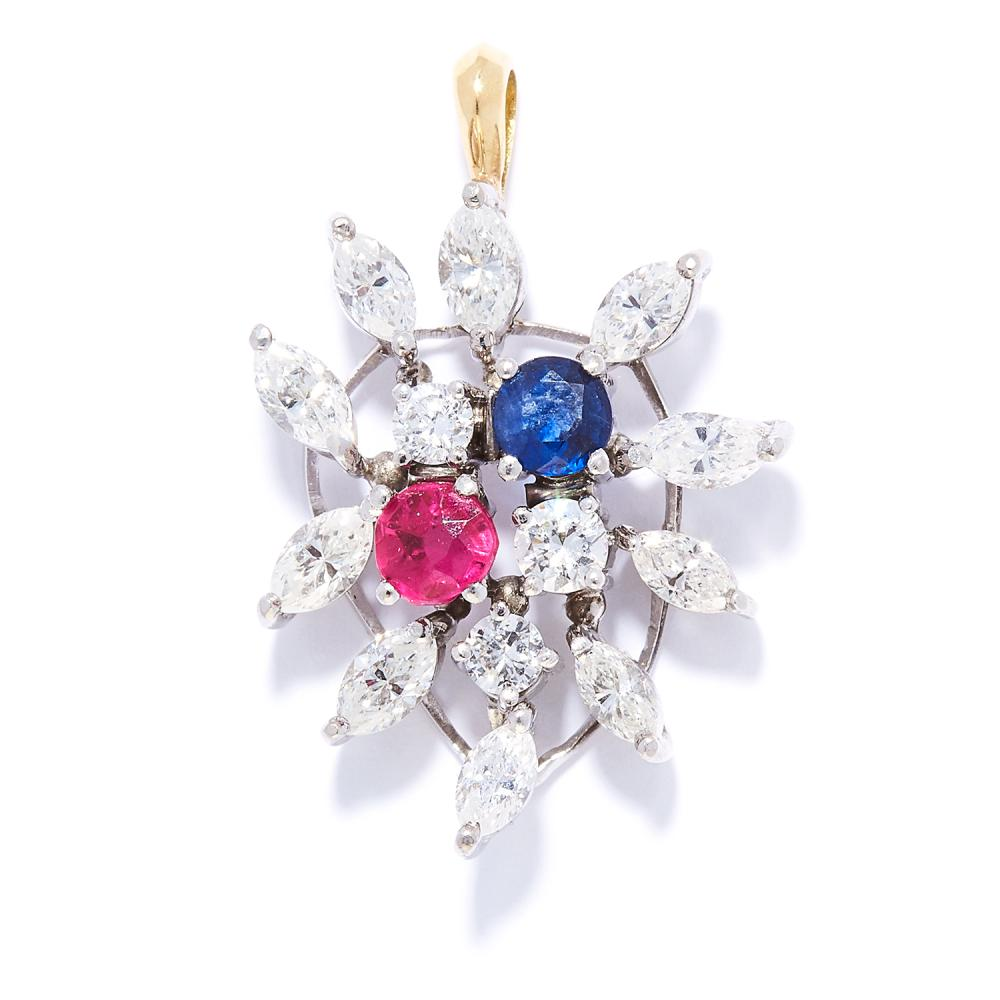 RUBY, SAPPHIRE AND DIAMOND PENDANT in 18ct white gold, set with a round cut ruby and sapphire and round and marquise cut diamonds, stamped 750, 2.8cm, 5.36g.