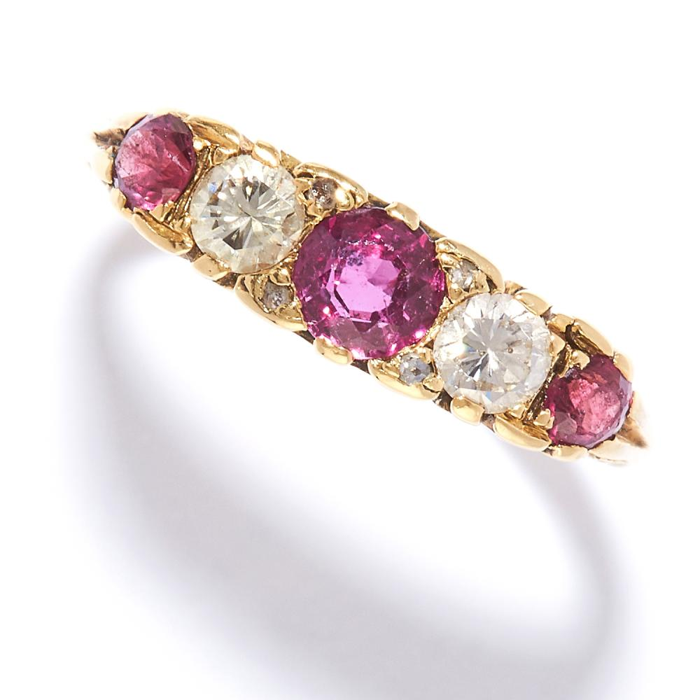 ANTIQUE RUBY AND DIAMOND FIVE STONE RING in 18ct yellow gold, set with three round cut rubies and two round cut diamonds, stamped 18CT, size M / 6, 3.42g.