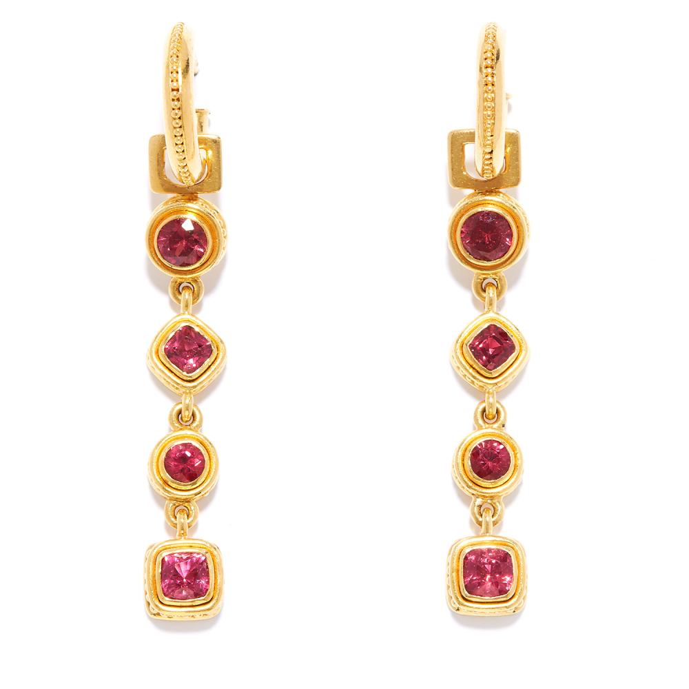 SPINEL DROP DAY AND NIGHT EARRINGS in 22ct yellow gold, each comprising a hoop suspending four detachable drops set with alternating round and cushion cut spinel, stamped 22K, 4.7cm, 14.8g.