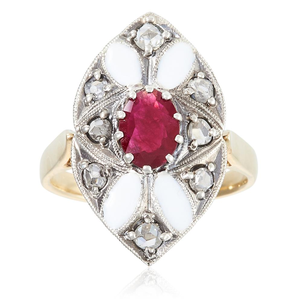 RUBY, DIAMOND AND ENAMEL RING in high carat yellow gold and silver, set with an oval cut ruby of 0.70 carats within a navette face jewelled with diamonds and white enamel, unmarked, size M / 6.5, 5.4g.