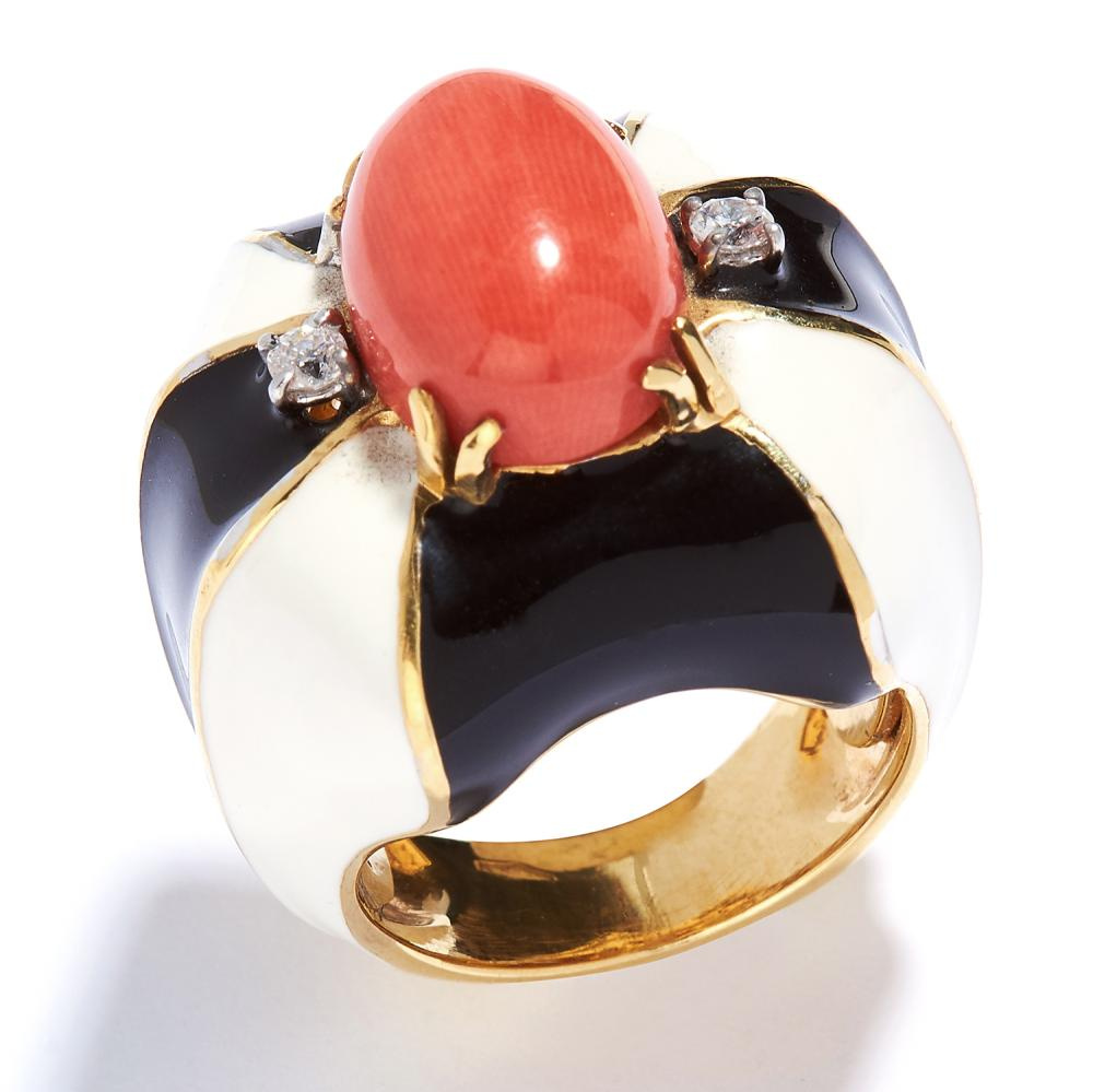 CORAL, DIAMOND AND ENAMEL RING in 18ct yellow gold, the oval coral cabochon within a border of alternating black and white enamel, jewelled with round cut diamonds, Italian marks, size M / 6, 27.6g.