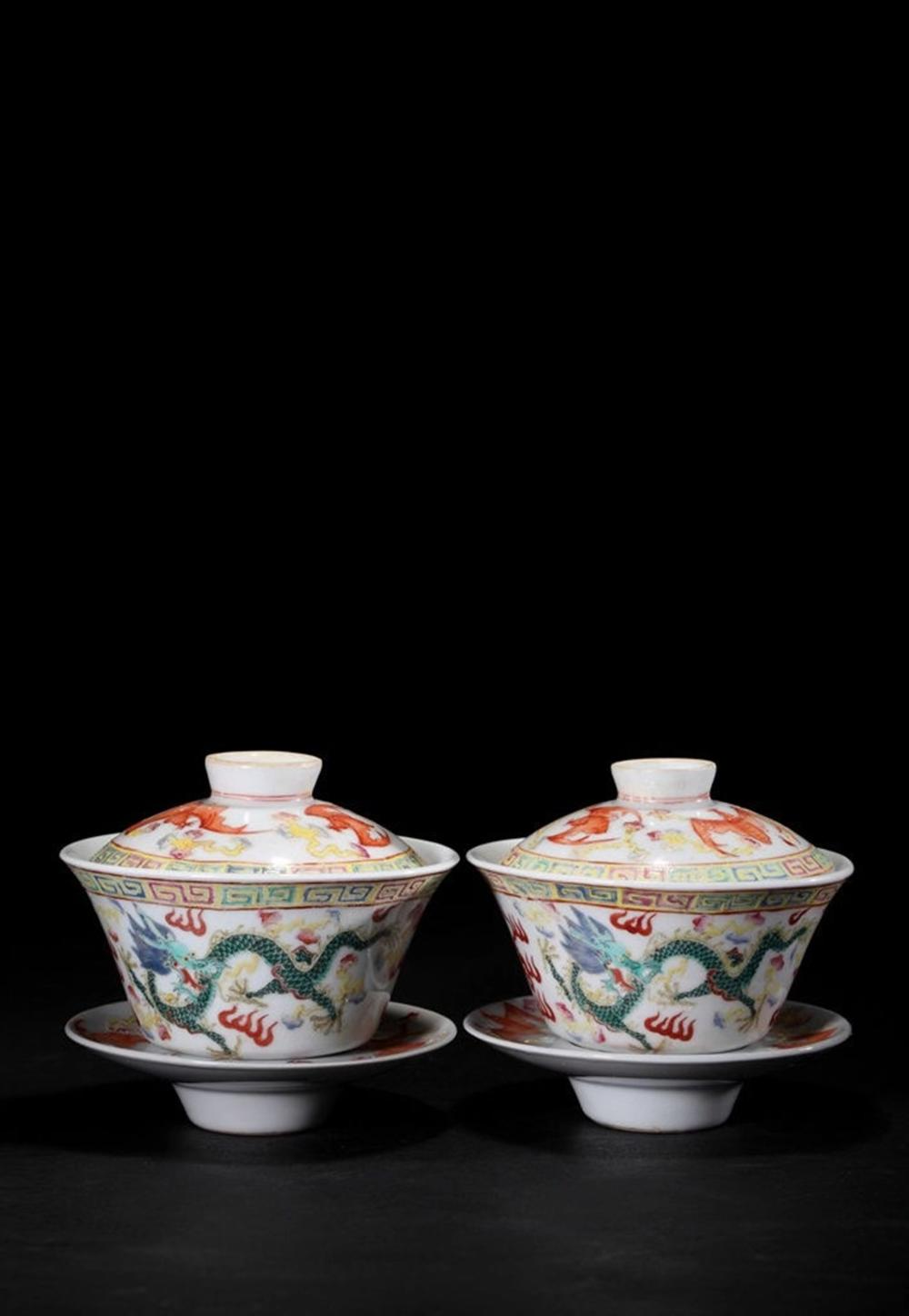 A PAIR OF FAMILLE-ROSE TEA BOWL AND STANDS.MARK OF GUANGXU