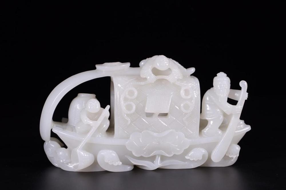 A WHITE JADE CARVING OF FISHBOAT.QING PERIOD