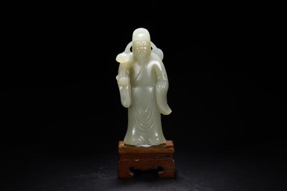 A WHITE JADE GOD OF WEALTH.QING PERIOD