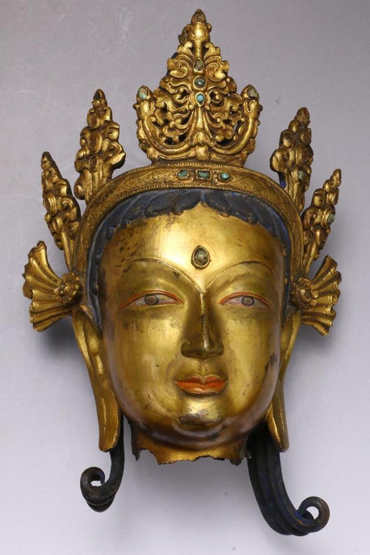 A GILT-BRONZE BUDDHA HEAD.QING PERIOD