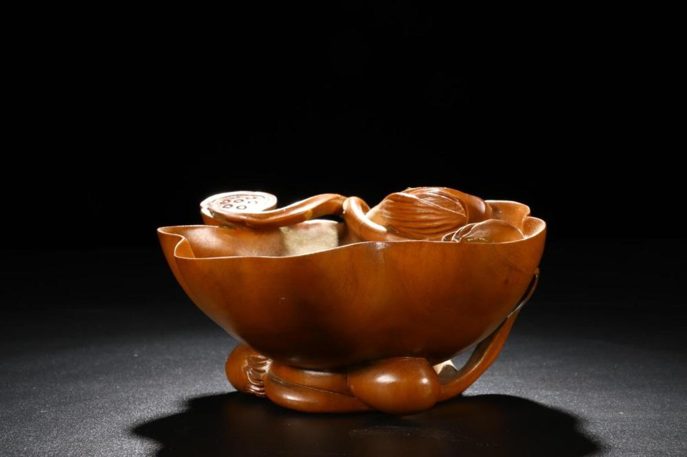 A CARVED HUANGYANGMU 'LOTUS' CP.QING PERIOD