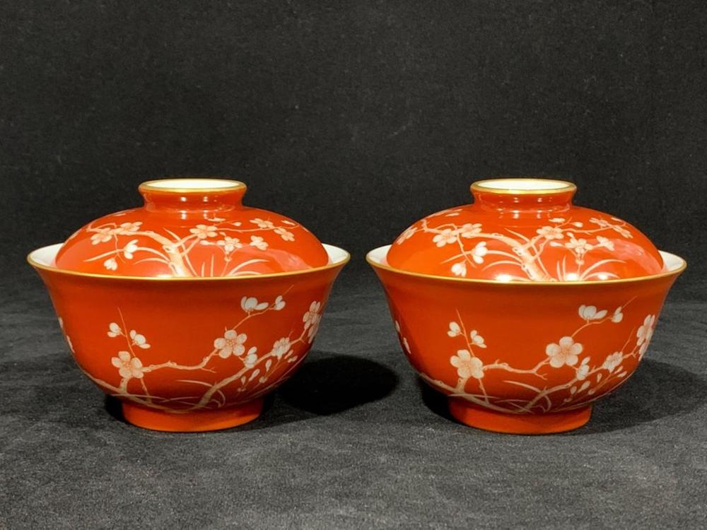A PAIR OF COPPER-RED BOWL AND COVER.MARK OF QIANLONG