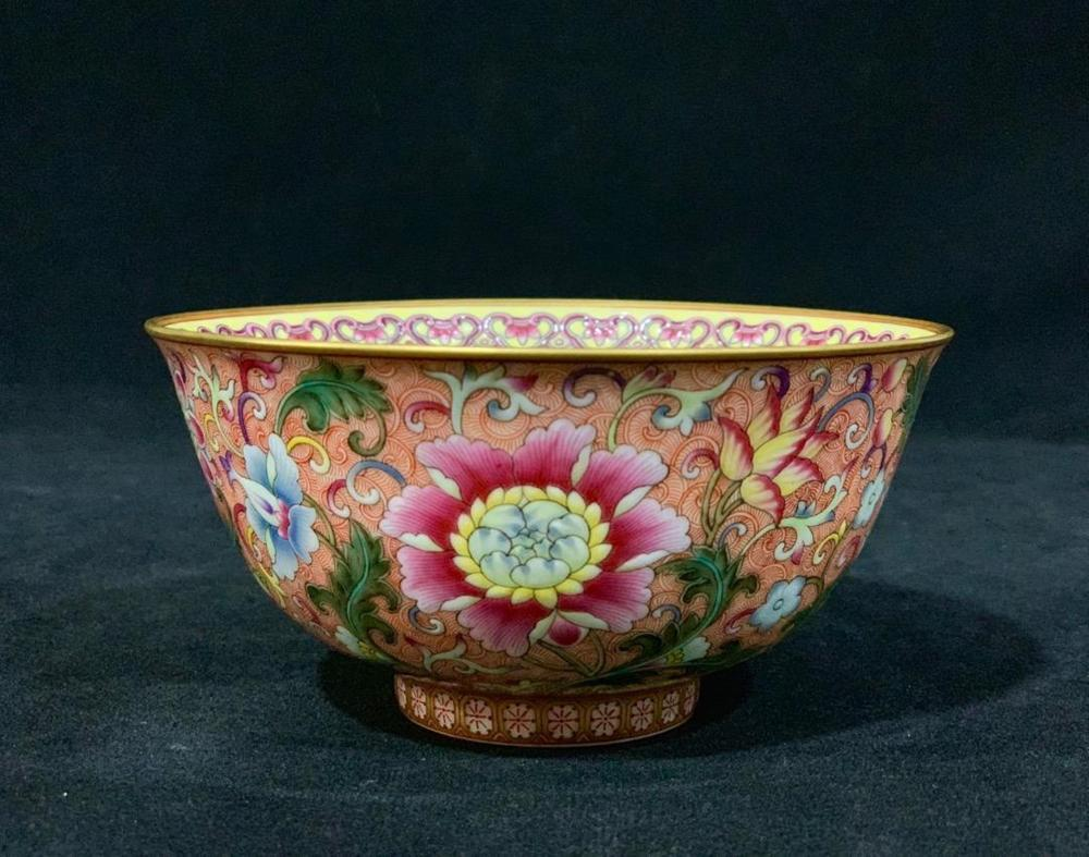 A PINK-GROUND FAMLLE-ROSE BOWL.MARK OF QIANLONG