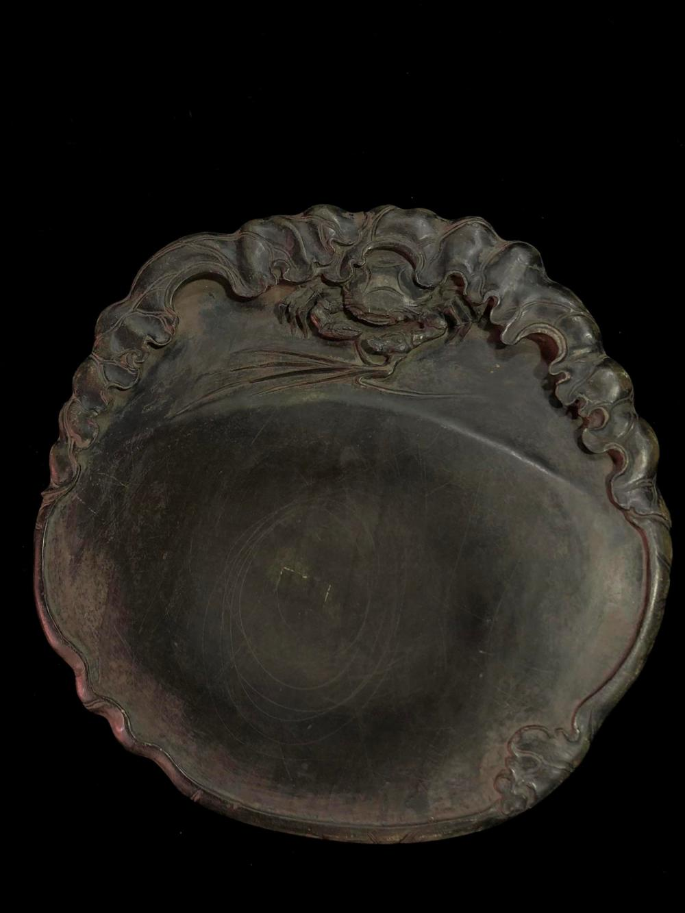 A CARVED 'CRAB' DUAN INKSTONE.QING PERIOD
