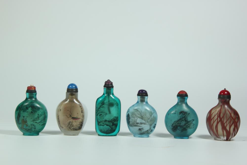 THREE OF INSIDE PAINTING GLASS SNUFF BOTTLES.ANTIQUE