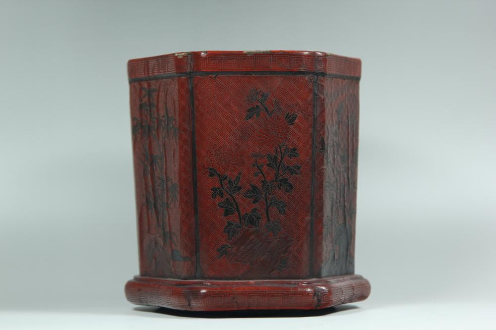 A CARVED RED-LACQUER BRUSHPOT.BITONG