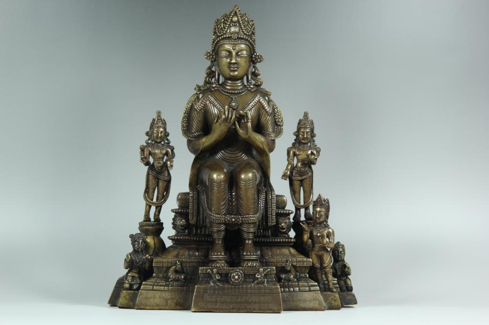 A SILVER-INLAID BRONZE BUDDHAS.ANTIQUE