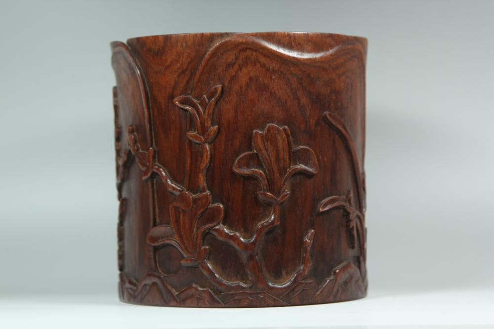 A CARVED HUANGHUALI 'THREE FRIENDS' BRUSHPOT.BITONG .ANTIQUE