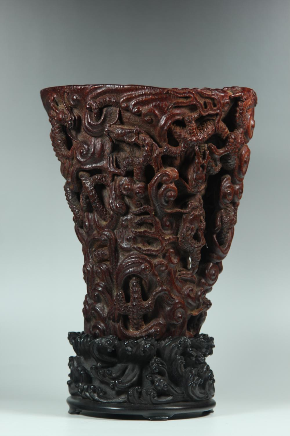 A CARVED AGALLOCJ WOOD DRAGON CUP.ANTIQUE
