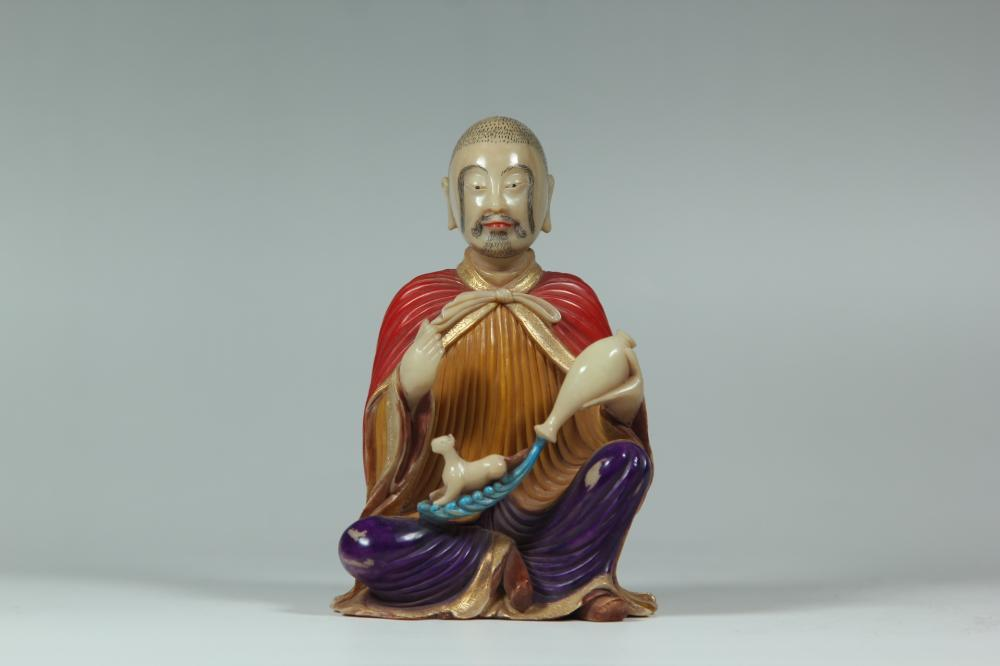 A COLORED SOAPSTONE CARVING OF LUOHAN.ANTIQUE