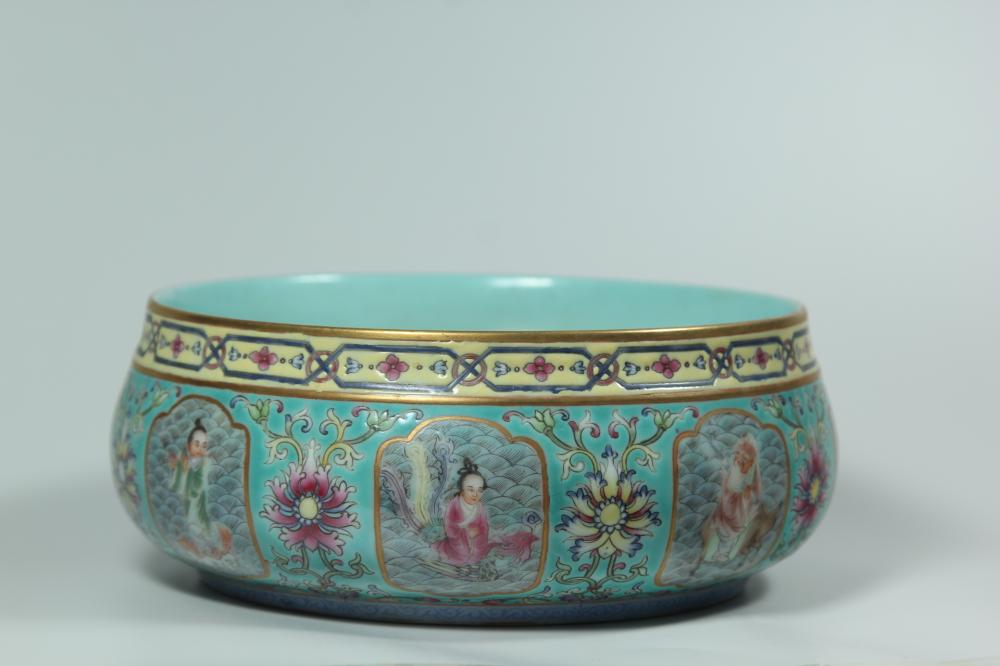A TURQUOISE-GROUND FAMILLE-ROSE WASHER.MARK OF QIANLONG