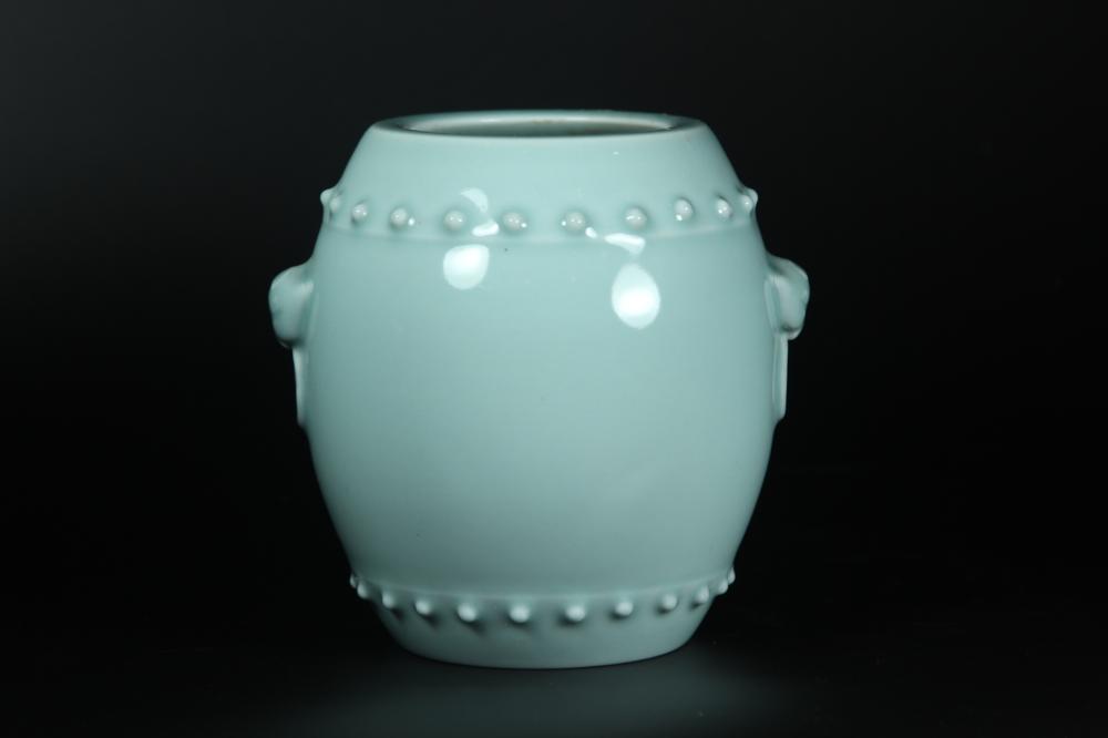 A CELADON-GLAZED GU-FORM JAR.MARK OF QIANLONG