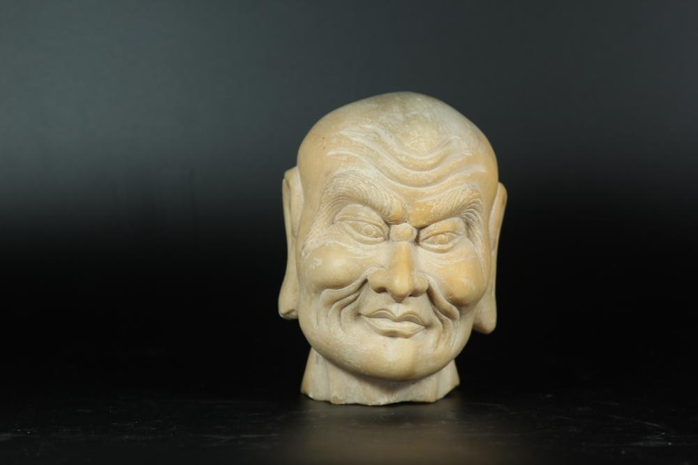 A CARVED MARBLE STONE LUOHAN HEAD.ANTIQUE
