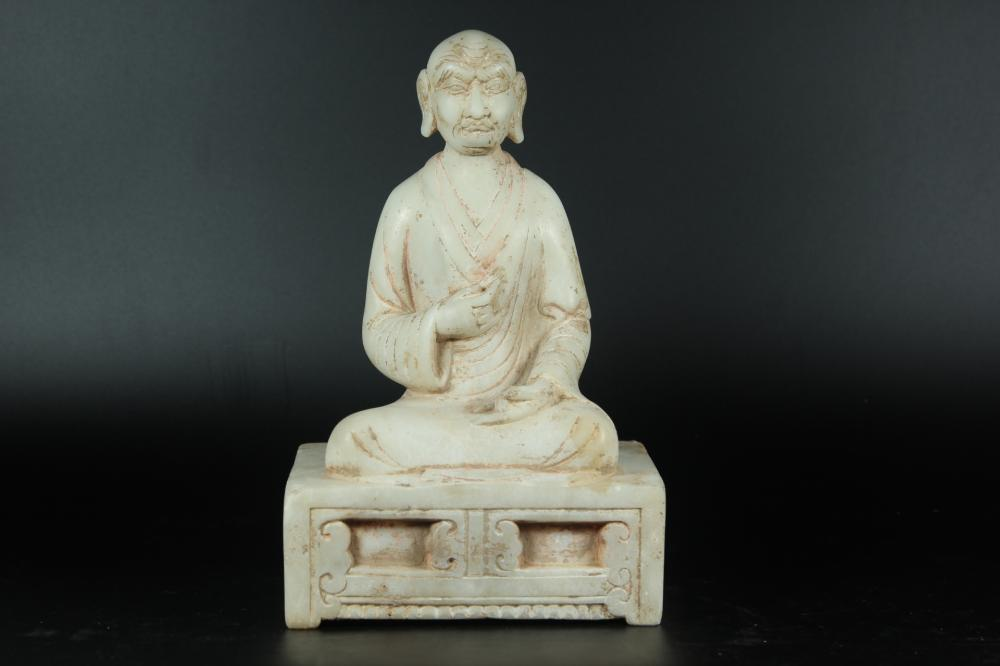 A CARVED MARBLE STONE LUOHAN.ANTIQUE
