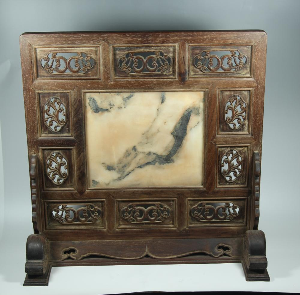 A STONE INLAID HUANGHUALI TABLE SCREEN.ANTIQUE