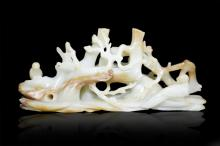A WHITE JADE CARVING OF MAGPIE ON PLUM TREE ,  Qing Dynasty