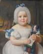 École ALLEMANDE du XIXème siècle, suiveur de Ferdinand Georg WALDMULLERPortrait de jeune fille avec sa poupéeSur sa toile d'origine45,5 x 36 cm. Cadre en bois doré à palmettes.