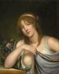 Jean Baptiste GREUZE (1725 - 1805), attribué àPortrait de jeune femme à la roseToile58,5 x 47,5 cm(restaurations, sans cadre)