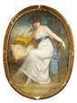 Jane de MONTCHENU LAVIROTTE(Active au XIXème siècle)Portrait de l'actrice Gaby MadryPastel190 x 145 cmSigné  en bas à droite Exposition :Salon de l'Union des Femmes Peintres et Sculpteurs (selon une étiquette au revers).