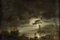 École FRANCAISE de la fin du XVIII° siècle, suiveur de Claude Joseph VERNETClair de luneToile65 x 99 cm Reprise de la toile (66 x 98 cm) conservée au musée du Louvre (voir F. Ingersoll-Smouse, Claude Joseph Vernet, volume I,