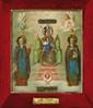 ICÔNEVierge à l'Enfant entourée de saintAntoine et saint Féodor.Peinture sur bois et métal signée par l'orfèvre Gratchev, datée 6 août 1902.35 x 31 cm