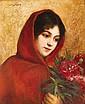 José FRAPPA (1854-1904)Jeune fille au bouquetHuile sur toile, signée en haut à gaucheH 57 L 46 cm