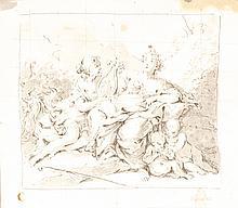 École ALLEMANDE du XVIII° siècle, entourage de Johann Konrad_ SEEKATZ  Allégorie de la musique  Plume et lavis gris, mis au carreau  17,5 x 20 cm