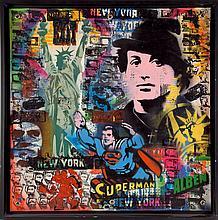 ALBEN (né en 1973)  Rocky  Acrylique sur bâche signée en bas à droite  60 x 60 cm