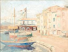 Alphonse ROUSSEL (1829-1868)  Village méditerranéen  Huile sur toile signée en bas à droite  46 x 55,5 cm