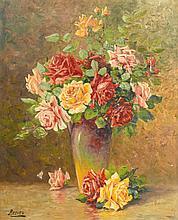 REEVES (Actif au XX° siècle)  Bouquet de fleurs  Toile  72 x 58 cm  Signée en bas à gauche Reeves