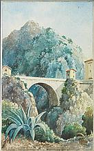 École de Nice début XX° siècle  Menton, le Pont Saint Louis  Aquarelle, signature en bas à gauche illisible  27,5 x 17 cm