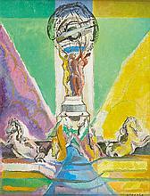 Christian d'ESPIC (1901-1978)  Fontaine de Carpeaux, 1961  Huile sur toile, signée en bas à droite  Contresignée et datée au dos  65 x 50 cm