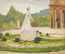 Marthe ORANT (1874-1957)  Le jardin des Tuileries  Huile sur panneau, signée en bas à droite.  Cachet de la vente d'atelier au dos  37,5 x 46 cm