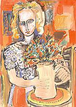 École d_e l'EST (XX° siècle)  Fillette au bouquet  Encre et gouache  62 x 43 cm