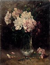 A. ROUCHAZ (fin d_u XIX° siècle)  Vase de fleurs  Panneau signé en haut à droite A. Rouchaz  35,5 x 27 cm