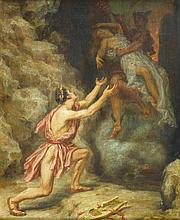 PERDRIELLES, XIX-XX° siècle  Scène mythologique  Huile sur toile, ancien rentoilage, signée en bas à droite.  46 x 38 cm