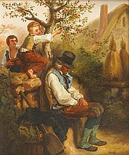 GRENIER XIX-XX° siècle  Paysan endormi  Huile sur toile, signée en bas à droite.  46 x 38 cm  (Légers éclats)