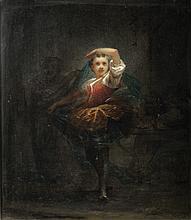 Wilfrid Constant BEAUQUESNE (1847-1913)  Petite danseuse  Signé et daté en bas à droite W. Beauquesne / 1874.  Panneau  46 x 38,5 cm